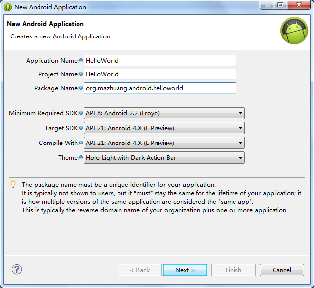 ADT new project default settings